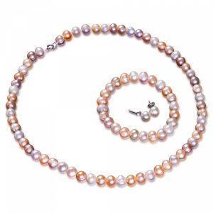 Pearl Necklace, Bracelet & Earrings Ensemble