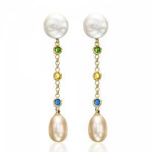 Fresh Water Pearl & Gold Enamel Earrings