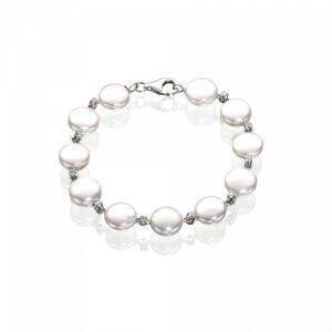 White Diamond Pearl Bracelet