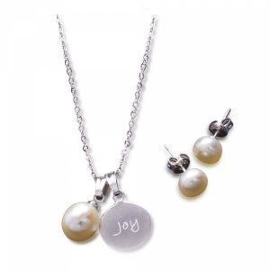 Joy Pearl Necklace & Earrings Ensemble