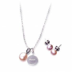 Hope Pearl Necklace & Earrings Ensemble