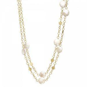 Gold Pearl Long Necklace