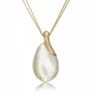 Satin Finish Gold Keshi Pearl Necklace