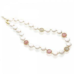 Rainbow Sapphire & Coin Pearl Gold Necklace