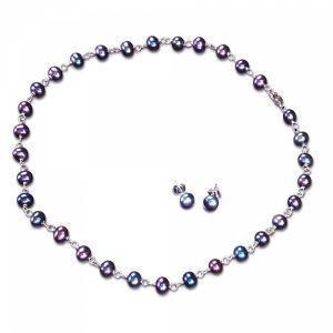 Fresh Water Pearl Necklace & Earrings Ensemble