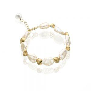 Satin Finish Gold Keshi Pearl Bracelet