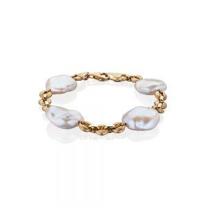 Satin Finish Gold Pearl Bracelet