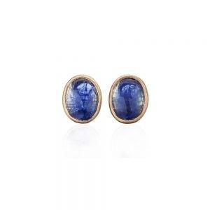 Gold Tanzanite Clip Earrings