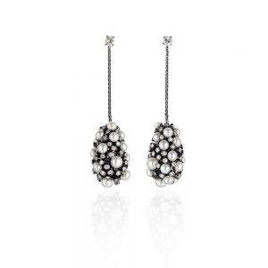 Black Gold Diamond Pearl Earrings