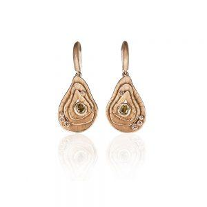 Reef Yellow Gold & Diamond Earrings