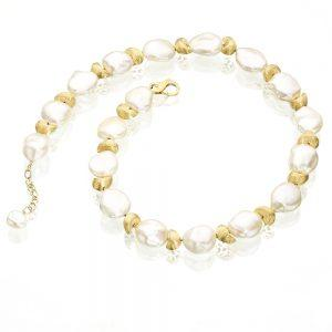 Satin Finish Gold White Keshi Pearl Necklace