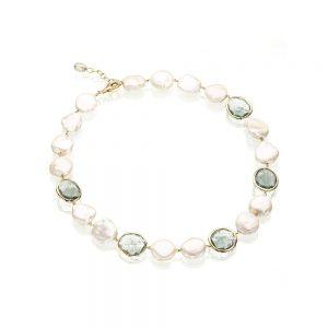 Gold Aquamarine & Keshi Pearl Necklace