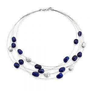Rainbow Satin Finished White Gold & Blue Sapphire Cable Necklace