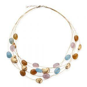 Rainbow Satin Finished Yellow Gold & Multicolor Sapphire Cable Necklace