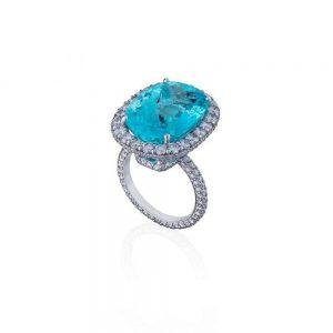 Paraiba & Diamond Ring
