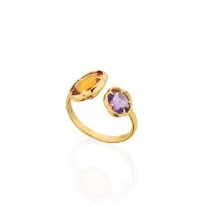 Flower shaped Gemstone Ring