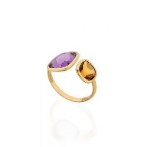 Citrine & Amethyst Ring