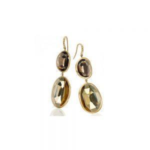 Gold Smokey Quartz Earrings