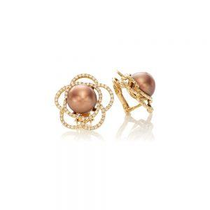 Diamond Brown Tahitian Pearl Earrings