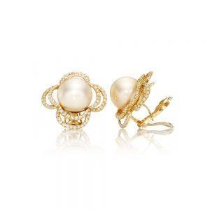 Diamond Golden Indonesian Pearl Earrings