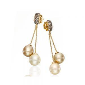 Diamond Golden Indonesian & Brown Tahitian Pearl Earrings
