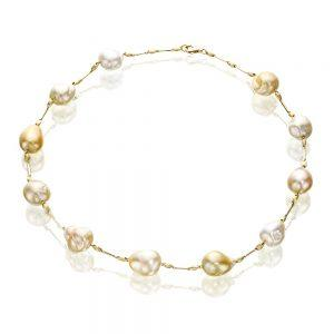 Satin Finish Gold Baroque Pearl Necklace
