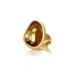 Smokey Quartz Gold Ring