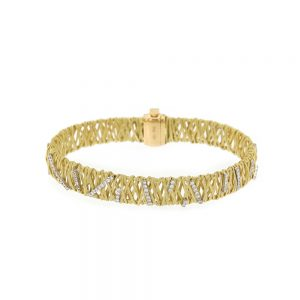 Hand Woven Gold Bracelet With Diamonds
