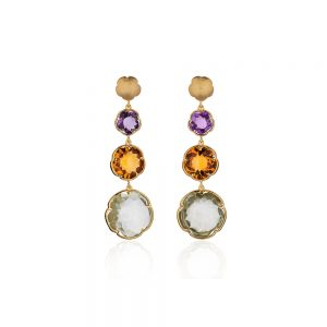 Flower Shaped Gemstone Earrings