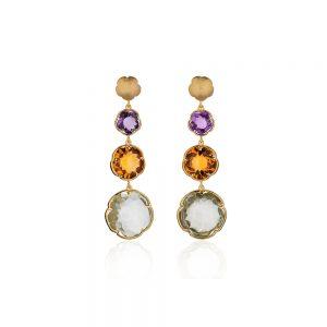 Flower Shaped Gemstone Earrings