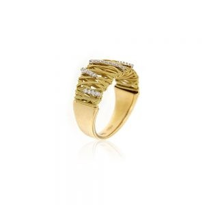 Hand Woven Gold Ring With Diamonds